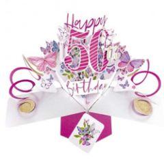 3D verjaardagskaart - pop ups - happy 50th birthday - vlinders