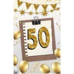 50 jaar - felicitatiekaart - memobord