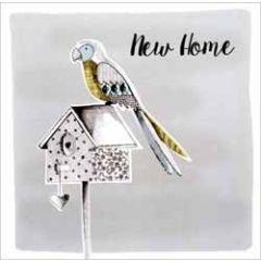 grote luxe wenskaart nieuwe woning - new home - papegaai