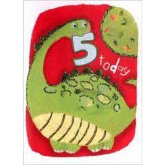 5 jaar - verjaardagskaart -  5 today - dinosaurus