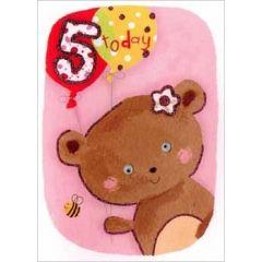 5 jaar - verjaardagskaart -  5 today - beertje
