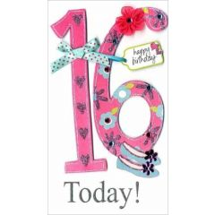 16 jaar - grote luxe verjaardagskaart - 16 today happy birthday