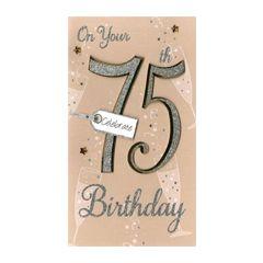 75 jaar - grote luxe verjaardagskaart - on your 75th birthday - celebrate