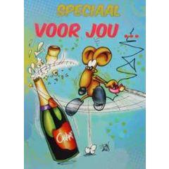 grote felicitatiekaart A4+ - speciaal voor jou... - muis met champagne