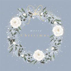 6 luxe kerstkaarten woodmansterne - merry christmas - kerstkrans