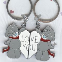 2 metalen sleutelhangers me to you - love you