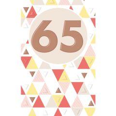 65 jaar - wenskaart lucky numbers - geel