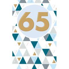 65 jaar - wenskaart lucky numbers - blauw