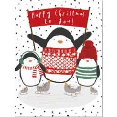 8 kerstkaartjes piano - happy christmas to you - pinguins