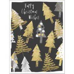 8 kerstkaartjes piano - happy christmas wishes - kerstbomen