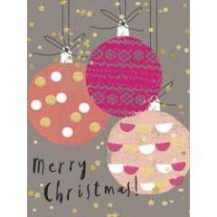 8 kerstkaartjes piano - merry christmas - kerstballen