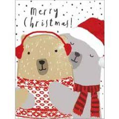 8 kerstkaartjes piano - merry christmas - beren