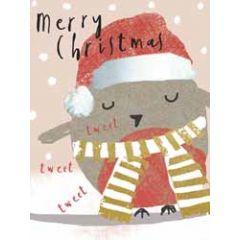 8 kerstkaartjes piano - merry christmas - vogeltje