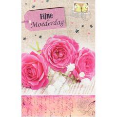 moederdagkaart - fijne moederdag - 3 roze rozen