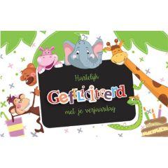 verjaardagskaart - hartelijk gefeliciteerd met je verjaardag - olifant en schoolbord