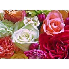 ansichtkaart - bloemen roze wit