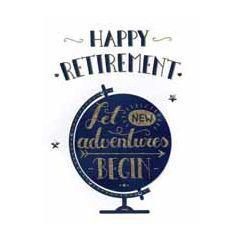 grote wenskaart A4 - pensioen - happy retirement let new adventures begin