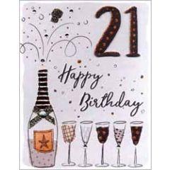 21 jaar - grote verjaardagskaart A4 - happy birthday - champagne