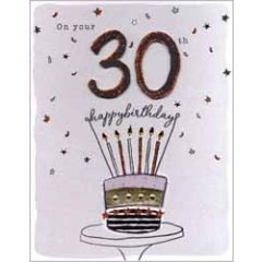 30 jaar - grote verjaardagskaart A4 - on your 30th happy birthday - taart