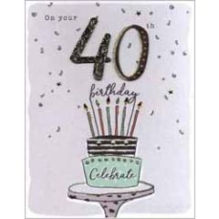 40 jaar - grote verjaardagskaart A4 - on your 40th happy birthday - taart