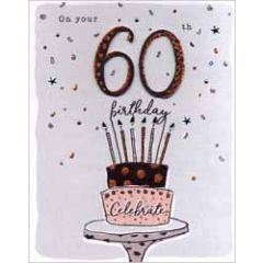 60 jaar - grote verjaardagskaart A4 - on your 60th happy birthday - taart