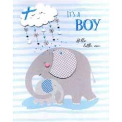 grote wenskaart A4 geboorte jongen - it s a boy hello little one