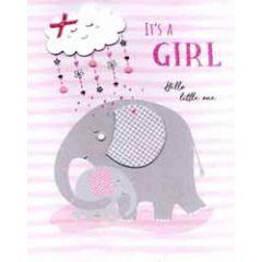 grote wenskaart A4 geboorte meisje - it s a girl hello little one