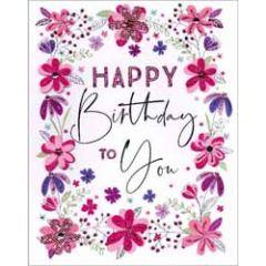 grote verjaardagskaart A4 - happy birthday  to you - bloemen