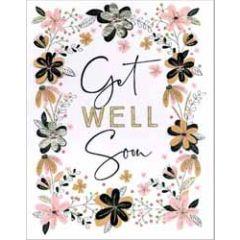 grote wenskaart A4 beterschap - get well soon - bloemen