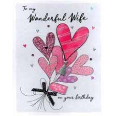 grote romantische verjaardagskaart A4 - to my wonderful wife on your birthday