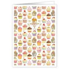 wenskaart A4 - cupcake