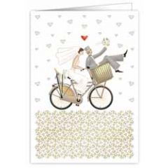 trouwkaart A4 - bruidspaar op fiets