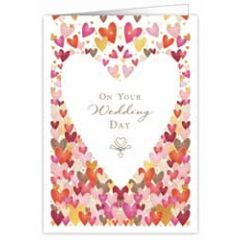 trouwkaart A4 - on your wedding day - hartjes