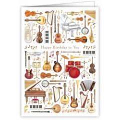 verjaardagskaart A4 - happy birthday to you - muziekinstrumenten