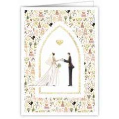 trouwkaart A4 - bruidspaar met hartjes