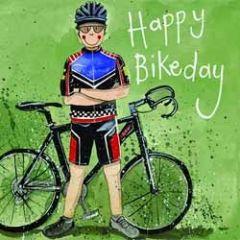 verjaardagskaart alex clark - happy bikeday - wielrenner