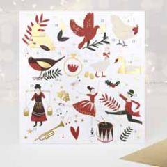 adventskalender kaart met 24 te openen vakjes,16 x 17,2 cm groot metenvelopontwerp: Caroline Gardner