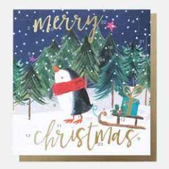 adventskalender kaart met envelop - caroline gardner - merry christmas - pinguin