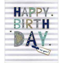 grote verjaardagskaart A4 - happy birthday  to you - strepen