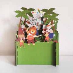 3d pop up kinderkaart - dieren met muziekinstrumenten