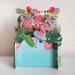 3d pop up kinderkaart - flamingo's