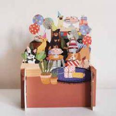 3d pop up kinderkaart - feestje honden