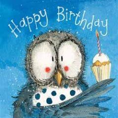 verjaardagskaart alex clark - happy birthday - uil met cupcake
