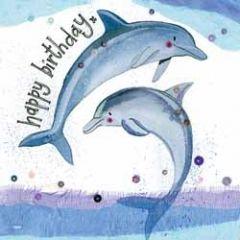 verjaardagskaart alex clark - happy birthday - dolfijnen