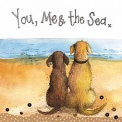 wenskaart alex clark - you, me and the sea - honden