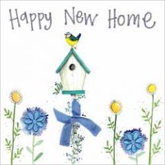 wenskaart alex clark - happy new home - vogelhuisje