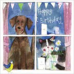 wenskaart alex clark - happy birthday - kat en hond