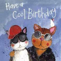 wenskaart alex clark - have a cool birthday - katten