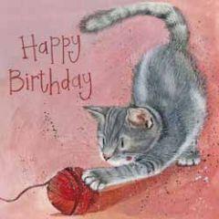 verjaardagskaart alex clark - happy birthday - kat met bolletje wol