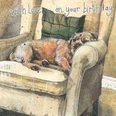 verjaardagskaart alex clark - with love on your birthday - hond in stoel